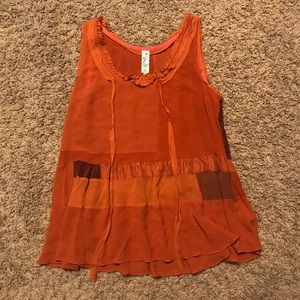 Anthropologie Floreat Rust Flowy Tank Top